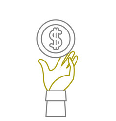 Yellow line coin with peso symbol and hand up vector