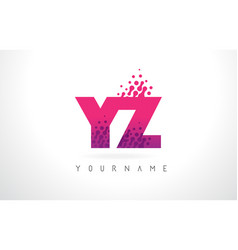 yz y z letter logo with pink purple color and vector image