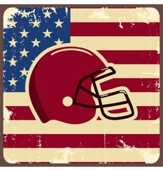 American football label with helmet and flag vector image