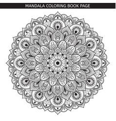 black mandala on white background vector image