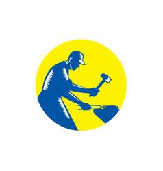 blacksmith worker forging iron circle woodcut vector image vector image