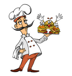 cartoon image of chef with burgers vector image vector image