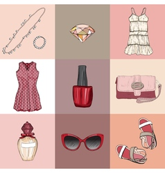fashion set of womans clothes accessories vector image vector image