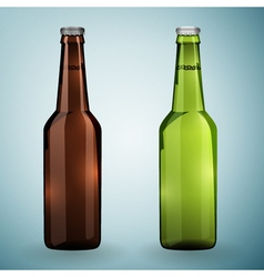 Green and brown bottles of beer on a grey vector image vector image