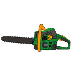 green and yellow chainsaw vector image vector image