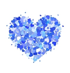 Heart made up of little blue hearts isolated on vector image