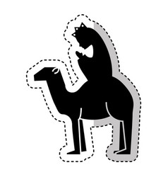 manger person in camel figure silhouette icon vector image vector image