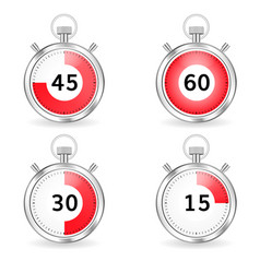 Realistic stopwatch with red dial and seconds bar vector
