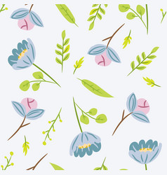 seamless pattern with leaves and blue flowers vector image vector image