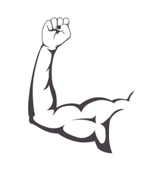 silhouette muscular arm with a clenched fist vector image