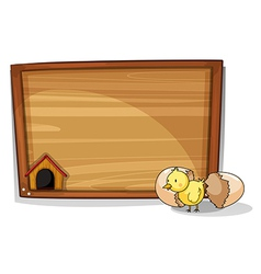 A hatched egg near an empty board vector image