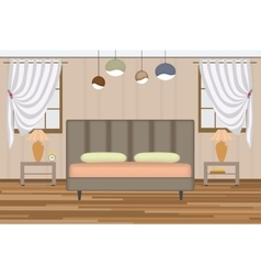 Bedroom Elevation Room with Bed vector image