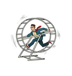 businessman in a squirrel wheel vector image