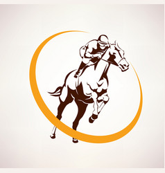 horse race stylized symbol jockey riding a horse vector image vector image