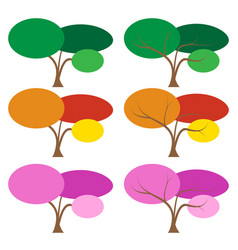 set of color tree in many season vector image vector image