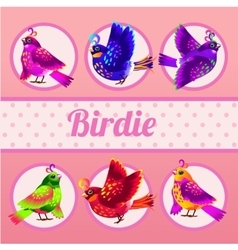 Set of six birds on a pink background vector image vector image