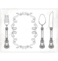 Cutlery spoon fork knife vector