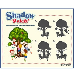Game template for shadow matching children vector image