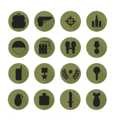 Military silhouette pictogram and war icons set vector image vector image