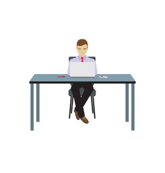 Person businessman sitting at the table vector image vector image