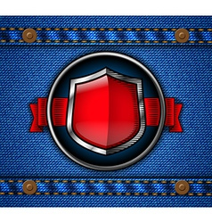 Shield label on jeans vector image