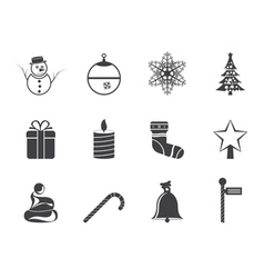 Silhouette Beautiful Christmas And Winter Icons vector image