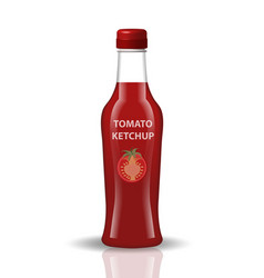 tomato ketchup in a glass bottle 3d realistic vector image