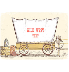 wild west wagon cowboy background vector image