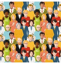 Crowd of people seamless pattern vector image vector image