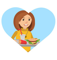 woman with a tray of food in his hands vector image