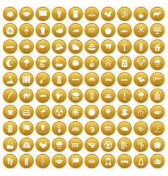 100 lotus icons set gold vector