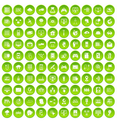 100 network icons set green vector image