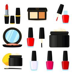11 colorful cartoon makeup elements vector image