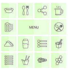 14 menu icons vector