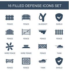 16 defense icons vector image