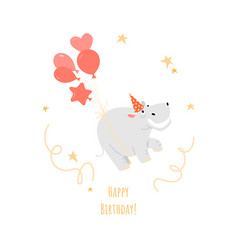 a birthday greeting card with a funny hippo vector image