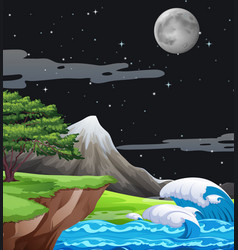 a nature landscape at night vector image