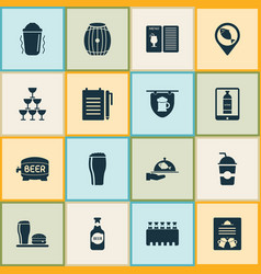 alcohol icons set with menu record an order vector image