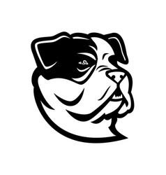 American bully bulldog head mascot black and white vector