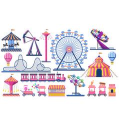 Amusement park circus festival tent roller vector