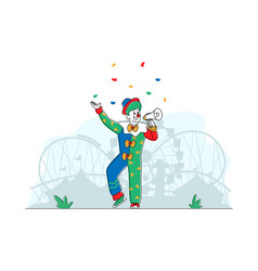 Animator character in funny clown suit wig vector