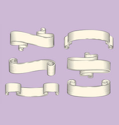 Antique papyrus ribbons or old curled scrolls vector