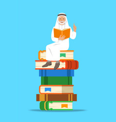 arab old man teacher sitting on stack books vector image