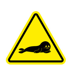 attention fur seal caution small sea calf yellow vector image