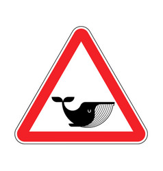 attention whale red prohibitory road sign danger vector image