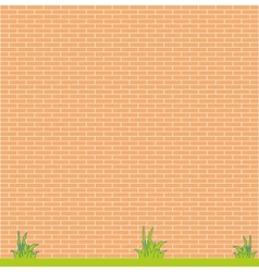 background red brick wall and grass vector image