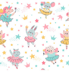 ballerina animal seamless pattern hand drawn baby vector image