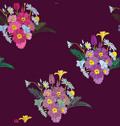 beautiful bouquet flowers embroidery design vector image