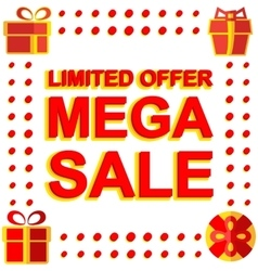 Big winter sale poster with LIMITED OFFER MEGA vector image