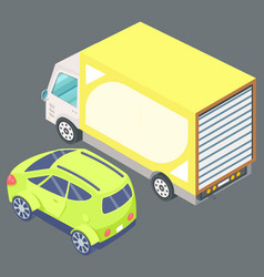 big yellow truck and green passenger car vector image
